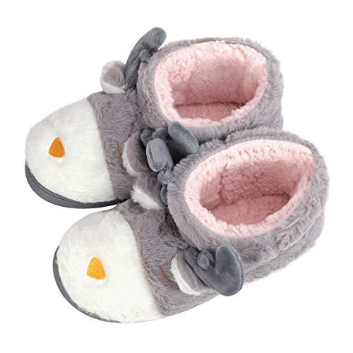 Women's Lovely Reindeer Slipper Bootie Thick Fluffy Cotton Cartoon Christmas Slipper Super Warm Slipper Boots Ladies Indoor Slipper Shoes, Grey 6/7 UK