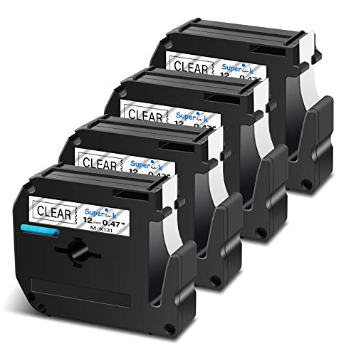 SuperInk 4 Pack Black on Clear Label Tape Compatible for Brother P-Touch MK131 M-K131 M131 PT-100 PT-45 PT-55 PT-65 PT-70 PT-80 PT-85 PT-90 Thermal Printer(12mm 1/2inch x 8m 26.2ft)