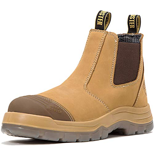 ROCKROOSTER Work Boots for Men, 6 inch Steel Toe, Slip On Safety Oiled Leather Shoes, Static Dissipative, Breathable, Quick Dry(AK222 Wheat, 5)