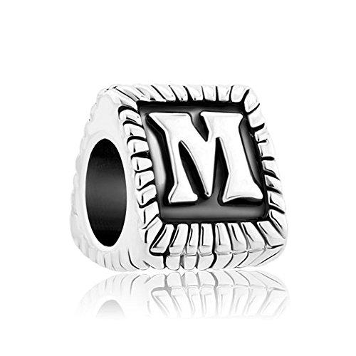 Bañado en plata espaciador de perlas de alfabeto A-Z letra inicial encanto para pulseras de cadena de serpiente
