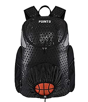 POINT 3 Basketball Road Trip 2.0 Backpack. Basketball Backpack with Drawstring Ball Storage. Built in Compartments for Shoes, Water & Clothes (Regular, Black)