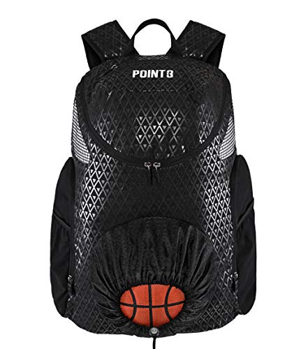 Point 3 Road Trip 2.0 Basketball Backpack with Ball & Shoe Storage (Black)