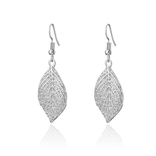 Orecchini pendenti da donna, a forma di foglia, in acciaio inossidabile placcato in oro o argento e Lega, colore: Silver Plated, cod. EH04751