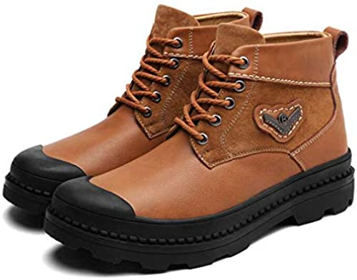 Hy Hy Hy Herrenschuhe, Spring Fallleder Casual schuhe, Outdoor High-Top Tooling Stiefel, Chelsea Stiefel,braun,42  Zähler echt