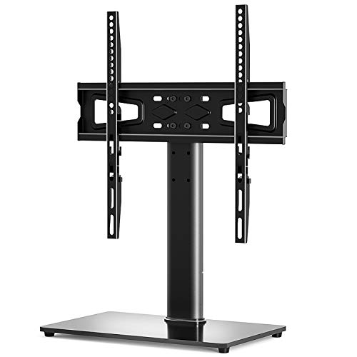 Universal TV Stand Base Table Top TV Stand for 27-55 inch LCD LED TVs,Height Adjustable TV Base Stand with Tempered Glass Base and Cable Management,Black