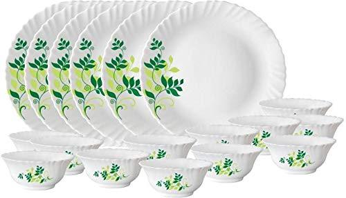 Larah by Borosil Fern Dinner Set,Opalware Glass Set White 27 Pcs.