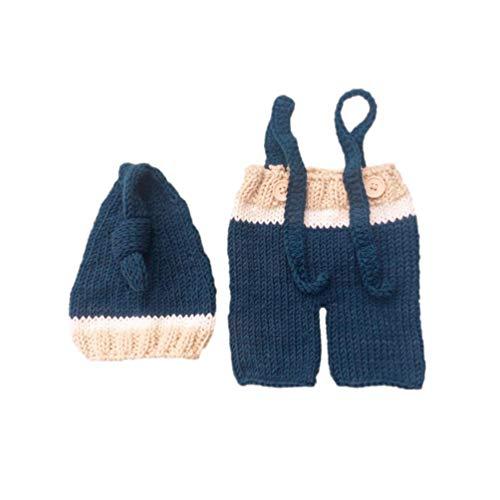 Holibanna Neugeborenen monatlichen Baby Foto Requisiten Outfits häkeln Strickmütze Hose Set für junge Mädchen Fotografie schießen (0-3 Monate)