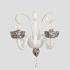 Murrine - Aplique de cristal de Murano con 2 luces blancas