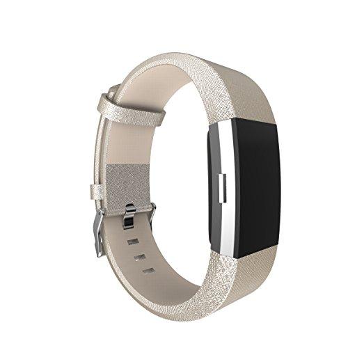Voor Fitbit Charge 2 Band Lederen Band, AISPORTS Fitbit Klassieke Lederen Smart Horloge Verstelbare Vervangende Band Polsband met Metalen Armband Gesp Sluiting voor Fitbit Charge 2 Fitness Accessoires, Goud