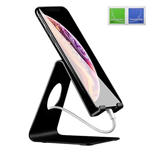ELZO Handy Halterung Handyhalter - Handy Ständer - Aluminium Halter, Phone Ständer für iPhone XS Max, Xs, XR, X, 8, 7, 6s 6 Plus, Samsung S7 S8, Huawei, Tisch Zubehör, Schreibtisch, andere Smartphone
