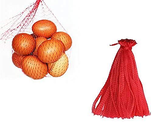 200 piezas Bolsa de productos de malla, bolsa de red reutilizable, juguetes de nailon, frutas y verduras, bolsas de polietileno para almacenamiento con cordón (30CM)