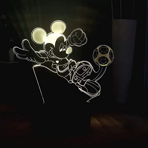 3D Enfants Lampe De Nuit Mickey Mouse Jouer Au Football Dream Master Cartoon Usb Touch Coloré Led Bébé Enfant Décoration Légère