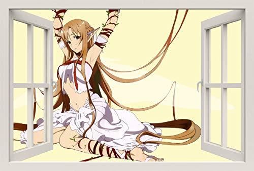 Unified Distribution Anime & Manga - Bondage Elfe - Wandtattoo mit 3D Effekt, Aufkleber für Wände und Türen Größe: 92x61 cm, Stil: Fenster
