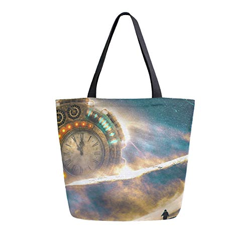 RURUTONG Tecnología Reloj de lona bolsa de lona a granel para comestibles, bolsa de hombro grande, bolsa de playa reutilizable, bolso multiusos resistente, compras para exteriores 2011004