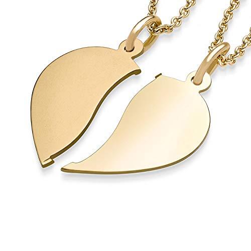 Herzkette für Paare Gold + inkl. GRATIS Luxusetui mit Gravur + geteilt 2 Hälften Herzketten für Pärchen Kette Paarkette Herzanhänger gebrochen Gelbgold 333er Goldkette FF411 GG33345