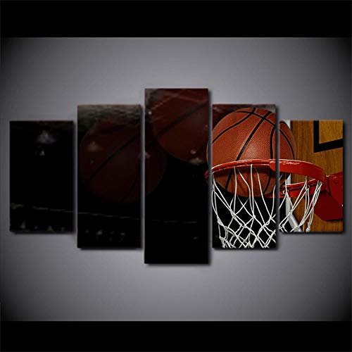 ERSHA Hd Gedruckt 5 Stück Leinwand Kunst Basketballkorb Ziel Malerei Wandbilder Für Wohnzimmer Modern(Rahmenlos)