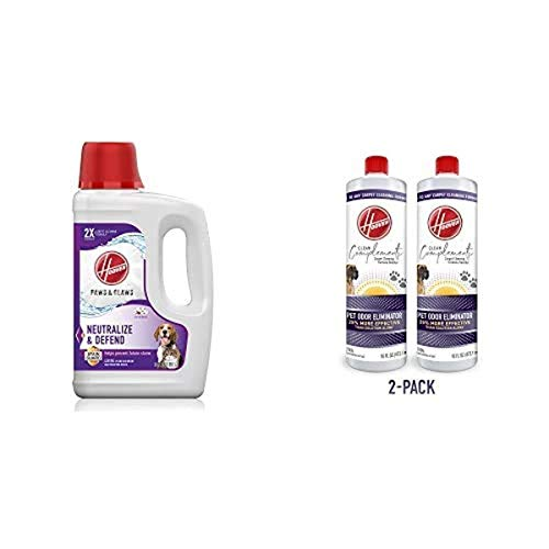 Hoover AH30925 Paws & Claws Deep Cleaning Carpet Shampoo Machine Cleaner, 64 oz, White & Odor Eliminator Carpet Cleaning Booster Formula for Machines, 16 oz, Pack of 2, White