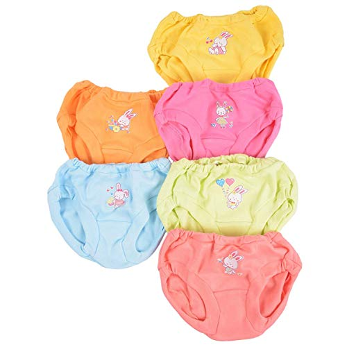 Baby Bucket Soft Baby Girls & Boys Panties, 100% Cotton, Pack of 6 Innerwear Panty Bloomer Drawer - 3-4 Years - [Multi-Coloured -11DC-1]