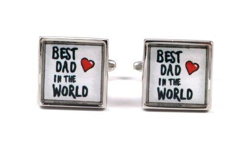 Gemelolandia | Boutons de Manchette avec Motif dad best in the world de forme carrée | Pour Hommes et Garçons | Cadeaux Pour Mariages, Communions, Bap