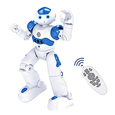 High-tech Artificial Intelligence Robot, Smart RC Robot Toy for Kids, Gesture Sensing Robot with Voice Control, Interactive Robots Dancing Walking, Christmas & Birthday Gift for Boys & Girls (Blue)