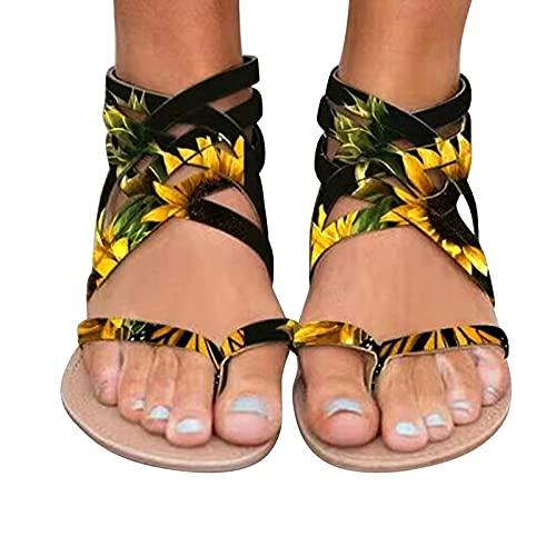 Qserd Women's Flat Summer Zipper Beach Open Toe Breathable Sandals Shoes Stretch Strap Roman Sandal Ladies Casual Open Toe Non-Slip Beach Slides Pool Shoes