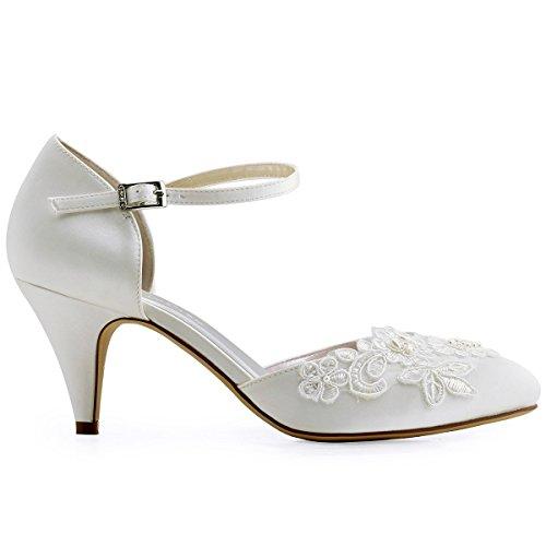 ElegantPark HC1604 Ivory Damen Geschlossene Zehen Stickerei Perlen Satin Brautschuhe EU 42 - 3