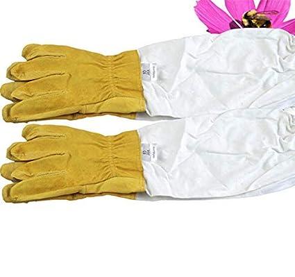 Guantes de apicultura Utensilios de apicultura amarillo guantes de apicultura profesionales Guantes de piel de oveja de algod/ón de poli/éster blanco