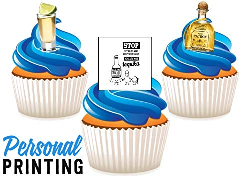PP - Patron Tequila Trio Mix 12 Eetbare Stand up Premium Wafer Card Cake Toppers Decoraties