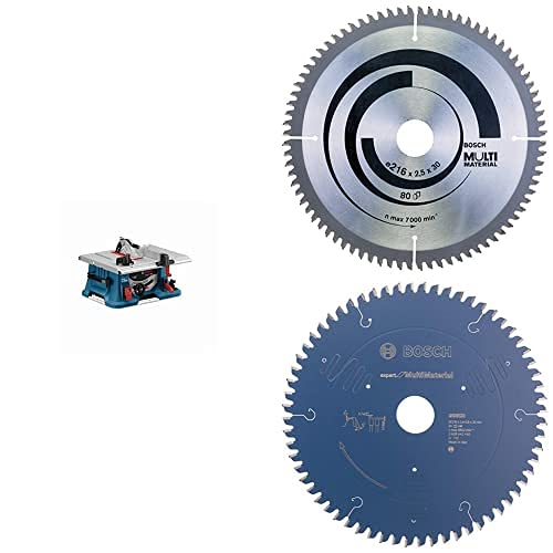 Bosch Professional GTS 635-216 - Sierra circular de mesa (1600 W, Ø disco de sierra 216 mm, en caja) + Disco de sierra circular Multi Materia + Disco de sierra circular Expert for Multi Material