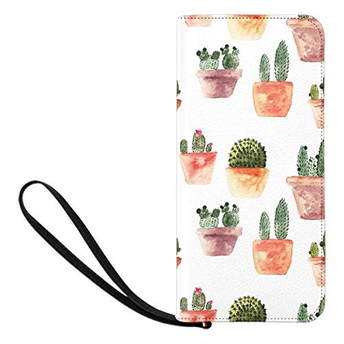 InterestPrint Women's Watercolor Cactus Plant Clutch Wallet with Card Holder Cash Pocket Wrist Strap