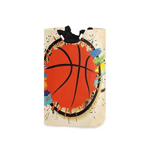 N\A Lindo Cartel de Baloncesto de Moda Bolsa de cesto de lavandería con asa Grande Bolsa de Almacenamiento Plegable Impermeable a Prueba de Agua para baño lavadero Ropa Plegable Bolsas de Viaje