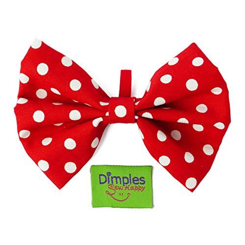 Dimples Hundefliege Rot gepunktet - Hundehalsband Fliege für kleine, mittlere und große Hunde - Hunde Halsschleife -Hundebesitzer Geschenk – Foto Requisite für Parties und Hochzeiten mit Hund - S