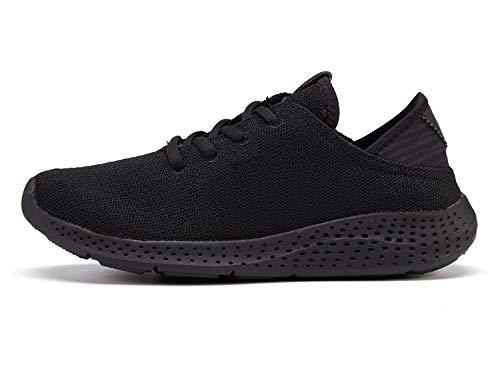 [Ezywear] レディース スニーカー かかとが踏める シューズ 軽量 通気性 歩きやすい スリッポン 靴 (25.0, ブラック/ブラック)…