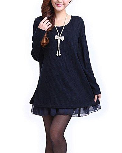 Minetom Damen Strickkleid Langarm Sweatshirt Strickpullover Kleider Pullover Chiffon (Schwarz EU 38-40 (Tag XL))