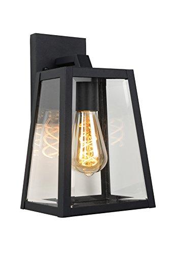 Lucide MATSLOT - wandlamp buiten - E27 - IP23 - zwart
