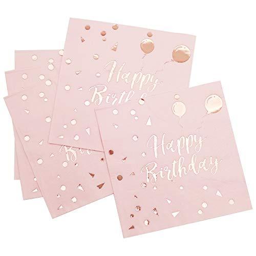 iZoeL Tovaglioli Compleanno Bianca Carta, 50 Rosa Happy Birthday Palloncini, 3 Strati, Adulti Bambini Tovaglioli di Carta da Festa