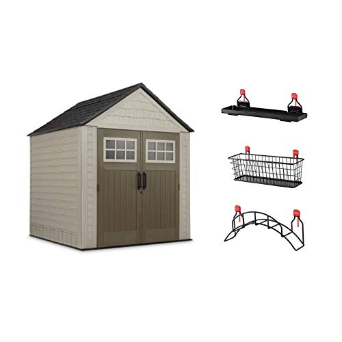 Rubbermaid 7' x 7 Storage Shed with Utility & Handle Hook & Accessories