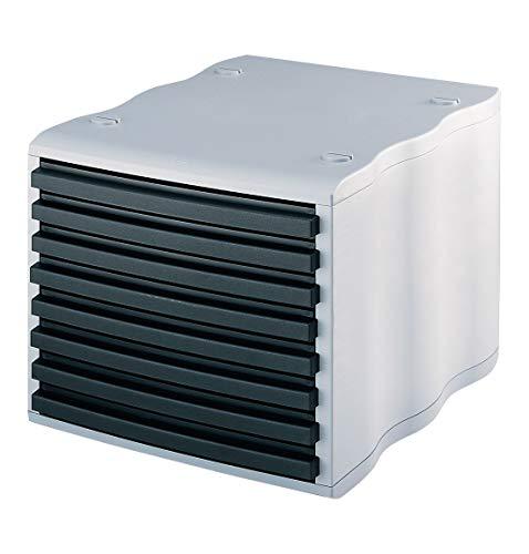 styro® wave Boxen-System, stabil, stapelbar, 8 Schübe mit Griffleiste, grau/schwarz