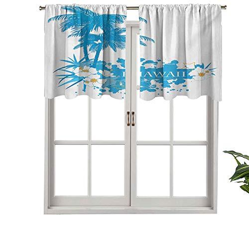 Hiiiman Cenefas de cortina con bolsillo para barra, cortinas de palmeras, plantas tropicales, flores, mariposas, silueta, monochro, juego de 2, 106,7 x 91,4 cm para ventana de cocina
