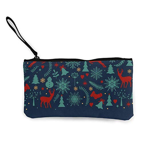 Hdadwy Moose Snowman and Bell Card on Christmas Eve Canvas Zipper Wallet, Personalized Lady Makeup Bag, Handbag, Suitcase Womens Accessories