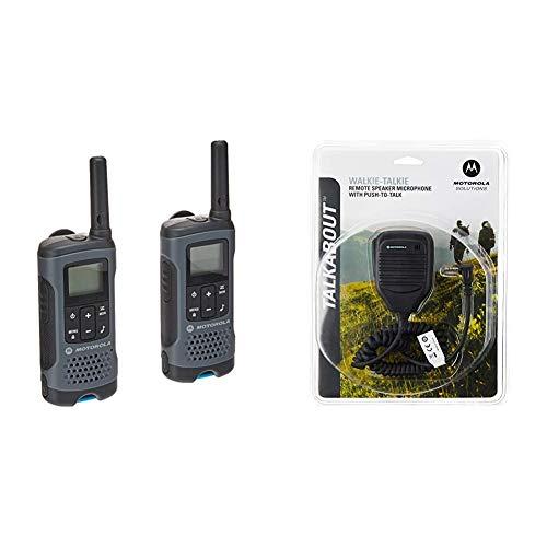 Motorola T200 Talkabout Radio, 2 Pack & Motorola 53724 Remote Speaker Microphone (Black)