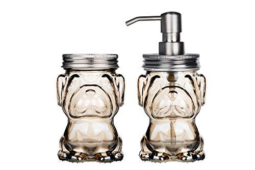 Wodlo - Dog Shape Soap Dispenser Pump & Covered Jar Bathroom Accessories Set (Amber)