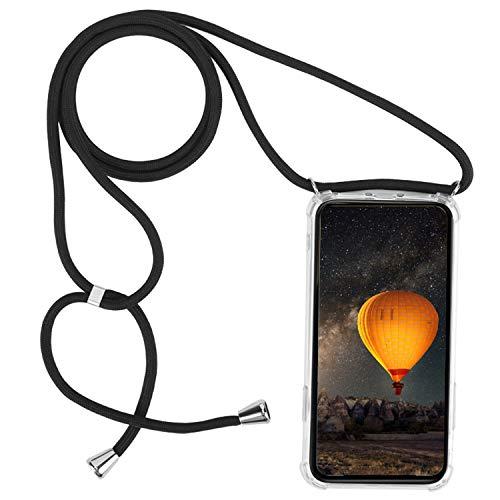 mvced Funda para Motorola Moto G7 Power Transparente de TPU-con Cordon para Lleva Case con Correa Colgante Ajustable Collar Correa de Cuello Cadena.