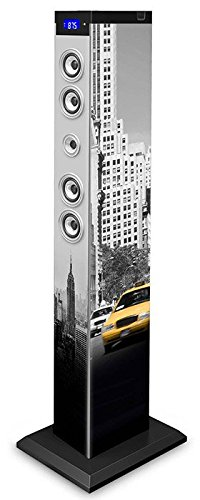BigBen TW9NY3 - Torre de Sonido Bluetooth Nueva York Taxi (2.1, 2x15W RMS + Subwoofer 30W RMS)