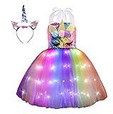 Viyorshop Girl Unicorn Costume Unicorn Tutu Dress Up Birthday Gifts LED Light Unicorn Dress for Halloween Party Costumes (Rainbow Sequins, 3-4T)