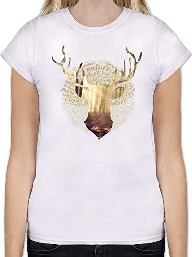 Oktoberfest Damen - Hirsch - L - Weiß - L191 - Tailliertes Tshirt für Damen und Frauen T-Shirt