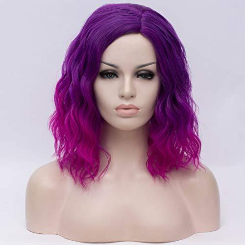 Cying Lin Short Bob Wavy Curly Wig Purple Ombre Wig For Women Cosplay Halloween Wigs Heat Resistant Bob Party Wig(Ombre Purple 2)