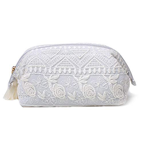 Lolita couleur crème glacée broderie dentelle fleur sac cosmétique Voyage à haute capacité de stockage Sac à main (Color : Blue gray)
