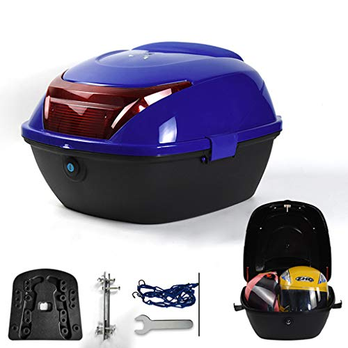 Universal Motorcycle Top Box, Scooter Trunk Luggage Top Lock Storage Carrier Case, Waterproof, with Mounting Hardware - Can Hold 2 Helmets(32L)