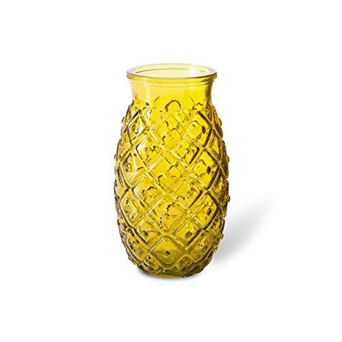 Jarrón en forma de piña. Color amarillo